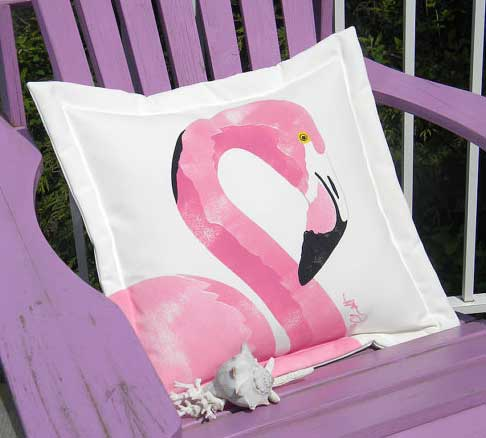 Flamingo Outdoor Pillow In Many Color For Sale Cottage