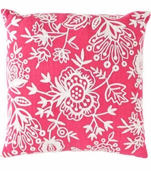Flora Crewel Fuchsia Indoor/Outdoor Pillow