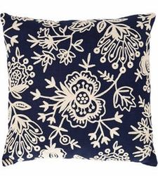 Flora Crewel Navy Indoor/Outdoor Pillow
