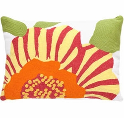 Stripe Flower Fuchsia/Daffodil Indoor/Outdoor Pillow