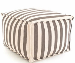 Trimaran Charcoal/Ivory Pouf Indoor/Outdoor