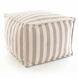 Trimaran Stripe Platinum/Ivory Indoor/Outdoor Pouf