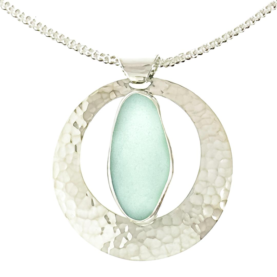 Full moon sea glass pendant necklace for sale cottage bungalow aloadofball Gallery