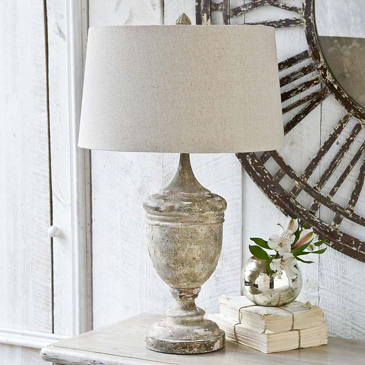 distressed table lamps wooden gesso wood vase table lamp for sale cottage bungalow