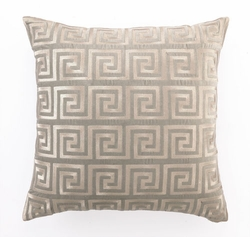 Greek Key Grey Embroidered Velvet Pillow