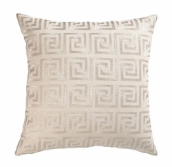 Greek Key Silver Embroidered Pillow <font color=a8bb35> Discontinued</font>