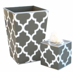 Grey Quatrefoil Bath Set<font color=cf2317> Discontinued</font>