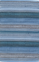 Gypsy Stripe Woven Cotton Rug in Denim/Navy