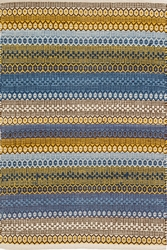 Gypsy Stripe Woven Cotton Rug in Denim/Yellow <font color=cf2317>20% OFF</font>
