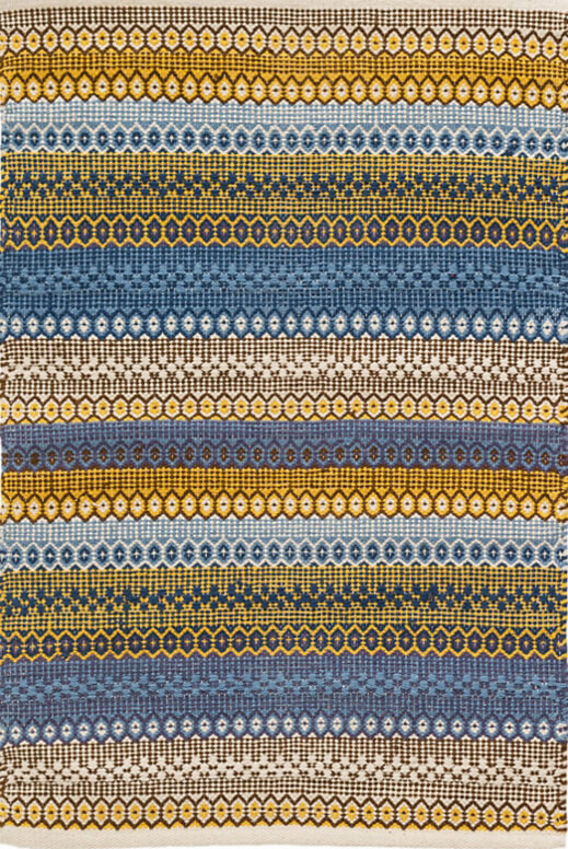 dash and albert gypsy woven cotton rug in denimyellow for sale cottage u0026 bungalow