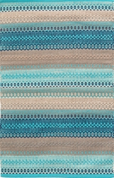 Gypsy Stripe Woven Cotton Rug In Turquoise
