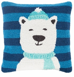 Hand hooked Polar Bear Holiday Pillow