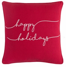 Happy Holidays Pillow Red