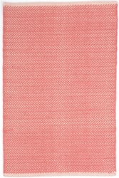 Herringbone Coral Cotton Rug