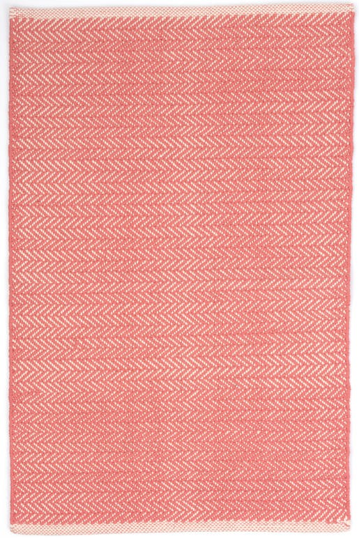 Dash And Albert Herringbone Coral Woven Cotton Rug For