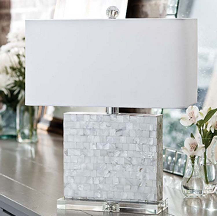 horizontal mother of pearl lamp with crystal base for sale. Black Bedroom Furniture Sets. Home Design Ideas