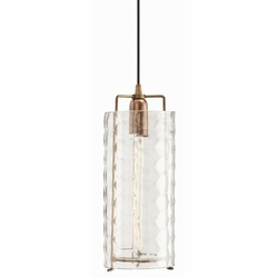 Ice Faceted Large Clear Glass/Iron Pendant Light
