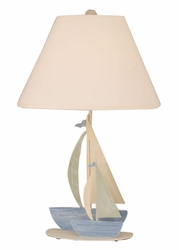 Iron Double Sail Boats Lamp with Salem Finish