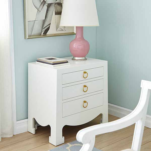 Jacqui 3 Drawer Side Table In White For Sale Cottage