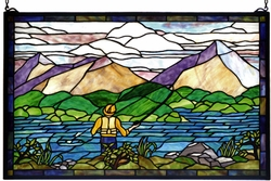 Just Fishin' Stained Glass Windowlight