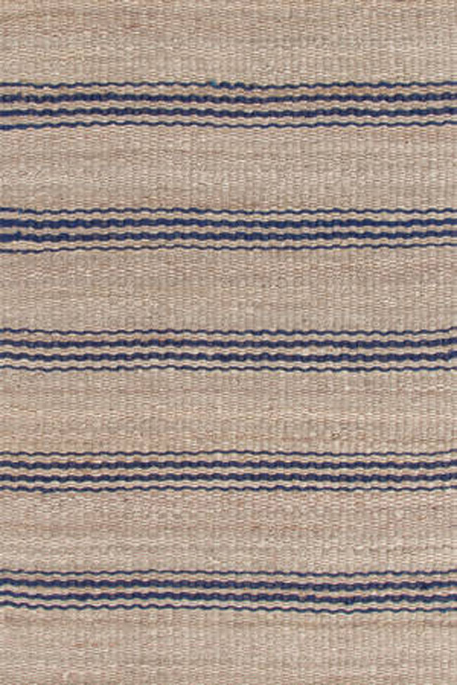 Dash And Albert Jute Ticking Indigo Woven Rug For Sale