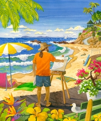 Laguna Painter at Main Beach Beach Print