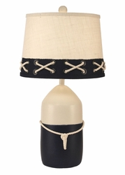 Large Buoy Pot with White Rope Accent Lamp