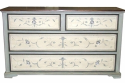 Large Cottage Painted Scroll Chest