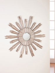Large Portuguese Starburst Mirror in Silver Leaf