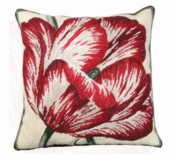 Large Tulip Needlepoint Pillow