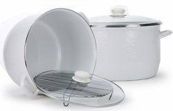 Large White 18 Quart Stock Pot with Rack