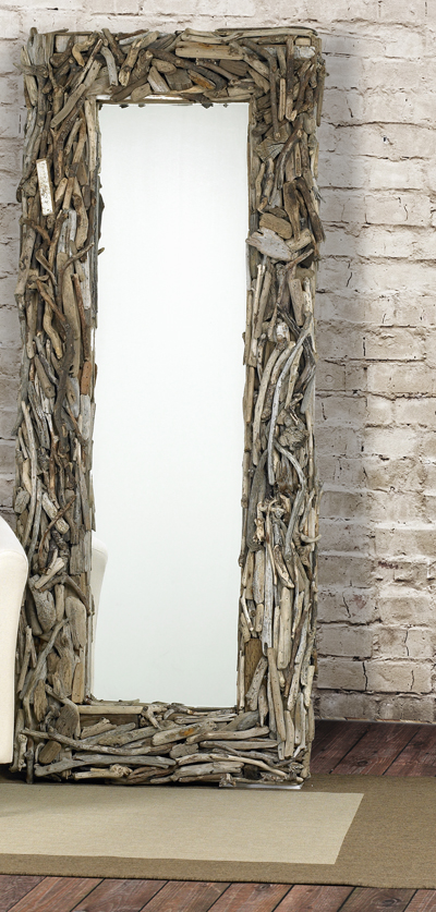 Handcrafted Driftwood Latigo Floor Mirror For Sale