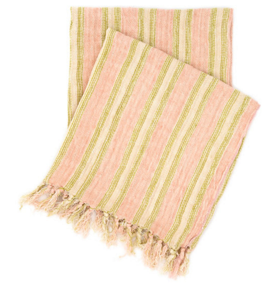 Pine Cone Hill Laundered Linen Ticking Pink Throw