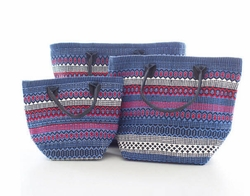 Le Tote Fiesta Stripe Blue/Red In Three Sizes