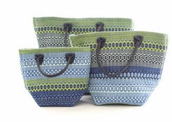 Le Tote Fiesta Stripe French Blue/Green In Three Sizes
