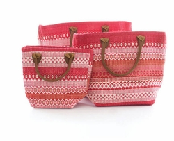 Le Tote Fiesta Stripe Fuchsia/Red in Three Size