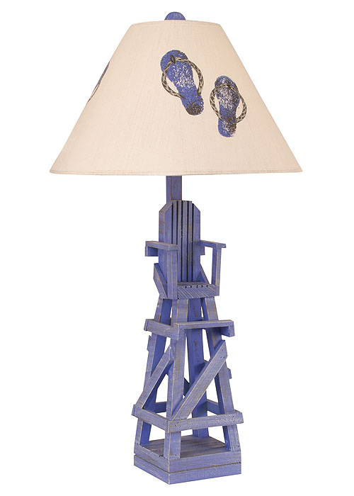 Life Guard Chair Table Lamp In Cottage Blueberry