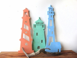 Lighthouse Trio Wood Art Beach Sign