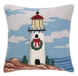 Lighthouse with Wreath Hooked Pillow<font color=cf2317> Sold Out</font>
