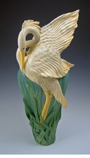 Ceramic Limited Edition Flame Wing Heron Vase