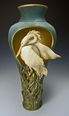 Ceramic Limited Edition Heron Cut Out Pedestal Vase