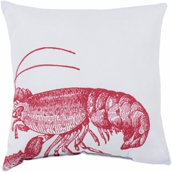 Lobster Outdoor Pillow in Red