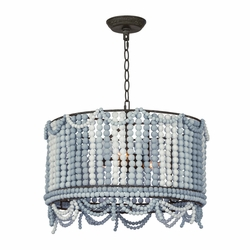 Malibu Blue Weathered Beaded Drum Light