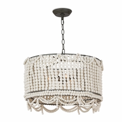 Malibu Weathered White Drum Pendant Light