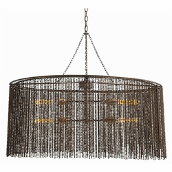 Maxim 4L Iron Beaded Oval Chandelier<font color=a8bb35> Out of Stock</font>