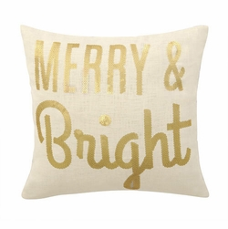 Merry & Bright Sequin Holiday Pillow<font color=cf2317> Sold Out</font>