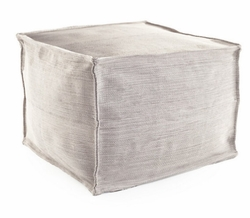 Mingled Platinum Indoor/Outdoor Pouf