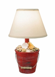 Mini Bucket of Shells Lamp in Cottage Red