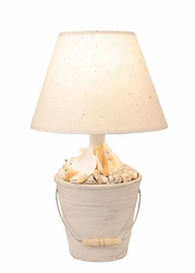 Mini Bucket of Shells Lamp with Cottage Finish