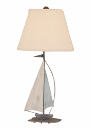Mini Iron Sail Boat Lamp with Blue Sail